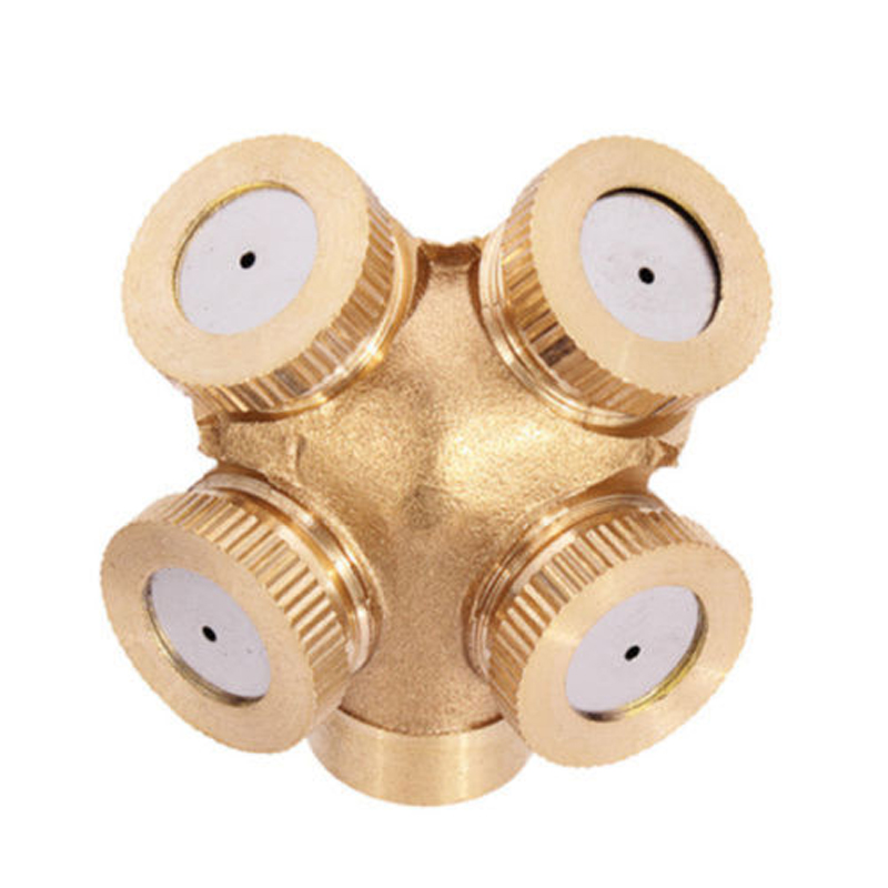 4 Hole Brass Spray Misting Nozzle Garden Sprinklers Irrigation Fitting Hose Water Connector Garden Supplies