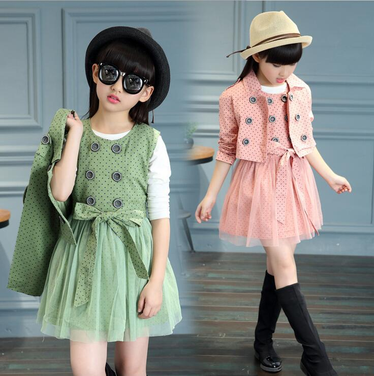 Girls Clothing Sets Autumn Kids Clothes Dots Ensemble Fille Double Breasted Trench And Dress Suits Children Christmas Outfits<br><br>Aliexpress