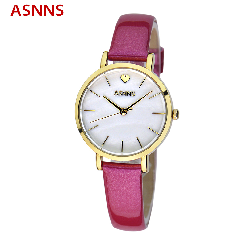 ASNNS Red Leather Band Gold Ladies Watches Casual Brand Womens Luxury Dress Watch relogio feminino<br><br>Aliexpress