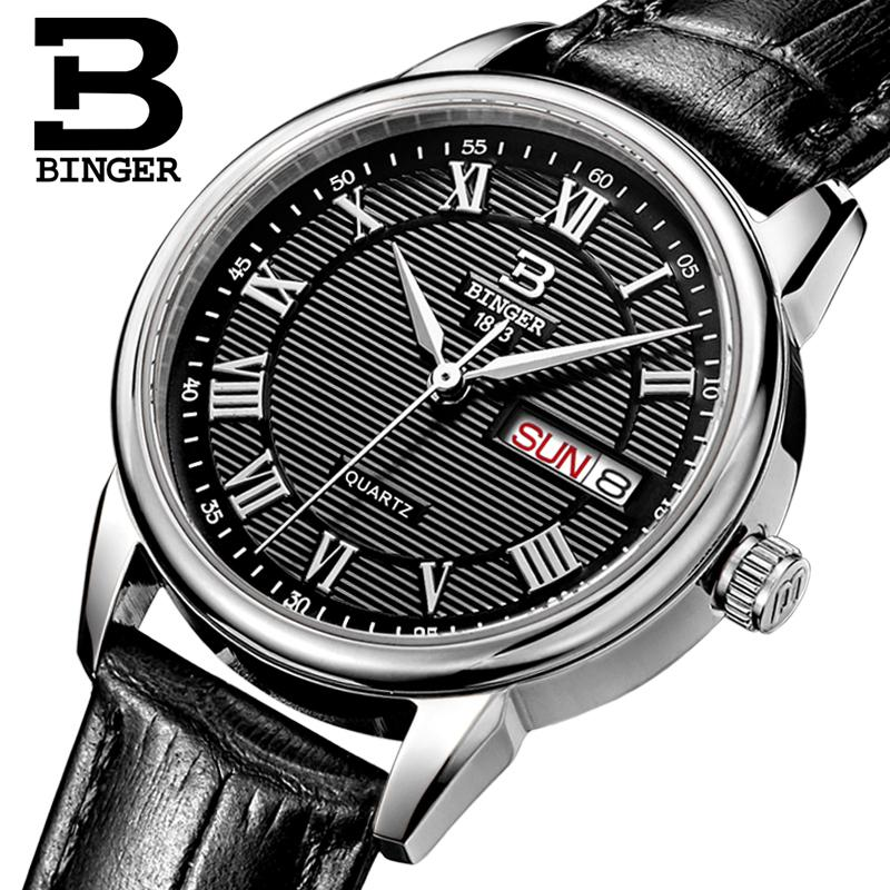 Switzerland Binger watches women fashion luxury watch ultrathin quartz Auto Date leather strap Wristwatches B3037G-4<br>