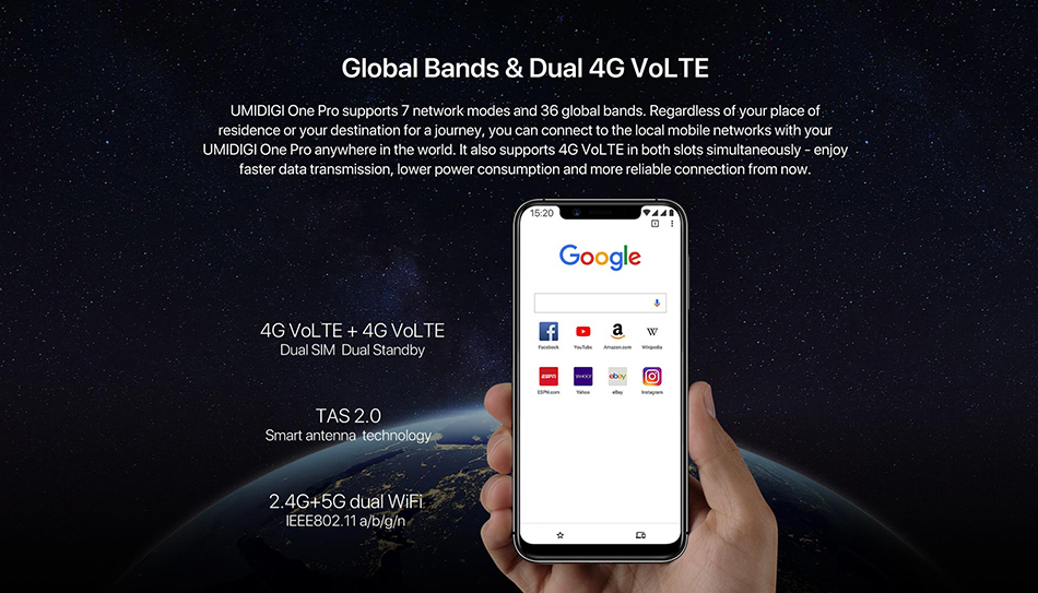 UMIDIGI One Pro Global Band 5.9 Android 8.1 mobile phone wireless charge 4GB 64GB P23 Octa Core smartphone 12MP+5MP Dual 4G NFC