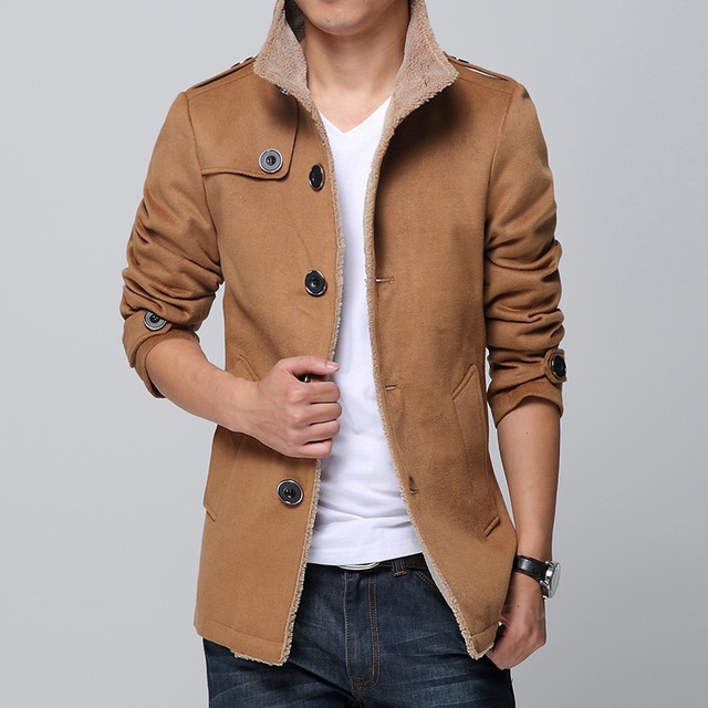 Thintenda 2017 Men S Fashion Winter Coats With Liner Khaki Black Trench Coat Warm Pure