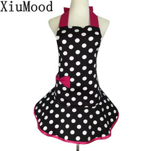 XiuMood Cute Home Kitchen Cooking Sleeveless Cotton Aprons For Woman Rose Red Bow Pocket Apron Dress Gift