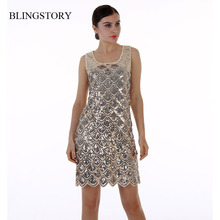 BLINGSTORY European Branded BLING-BLING Sequined Paillette Clubwear women summer Club dress evening party dropship(China)