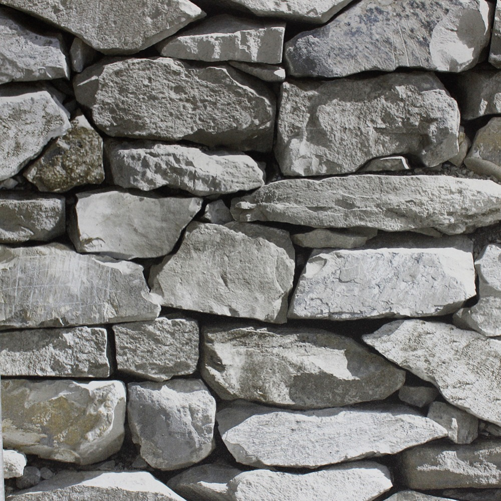 HaokHome Stone Wallpaper Rolls Lt.Grey/Black Rock Stone Brick Murals Home Kitchen Bathroom Decoration 20.8 x 393.7 <br>