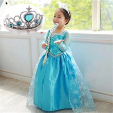 3-10Yrs Children Princess Elsa Dress Baby Girls Halloween Clothing Kids Wear Cosplay Elsa Costume Christmas Party Crown