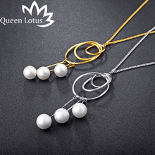 Queen Lotus 2017 new Fashion Long Necklace Chain Circle pearl sweater ladies Necklaces Elegant necklace women choker girl gift(China)