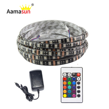 5050 LED Strip RGB DC 12V Black PCB 5M 60led/m IP65 Waterproof Flexible Tape Light +24Key Controller+12V 3A Power Adapter supply