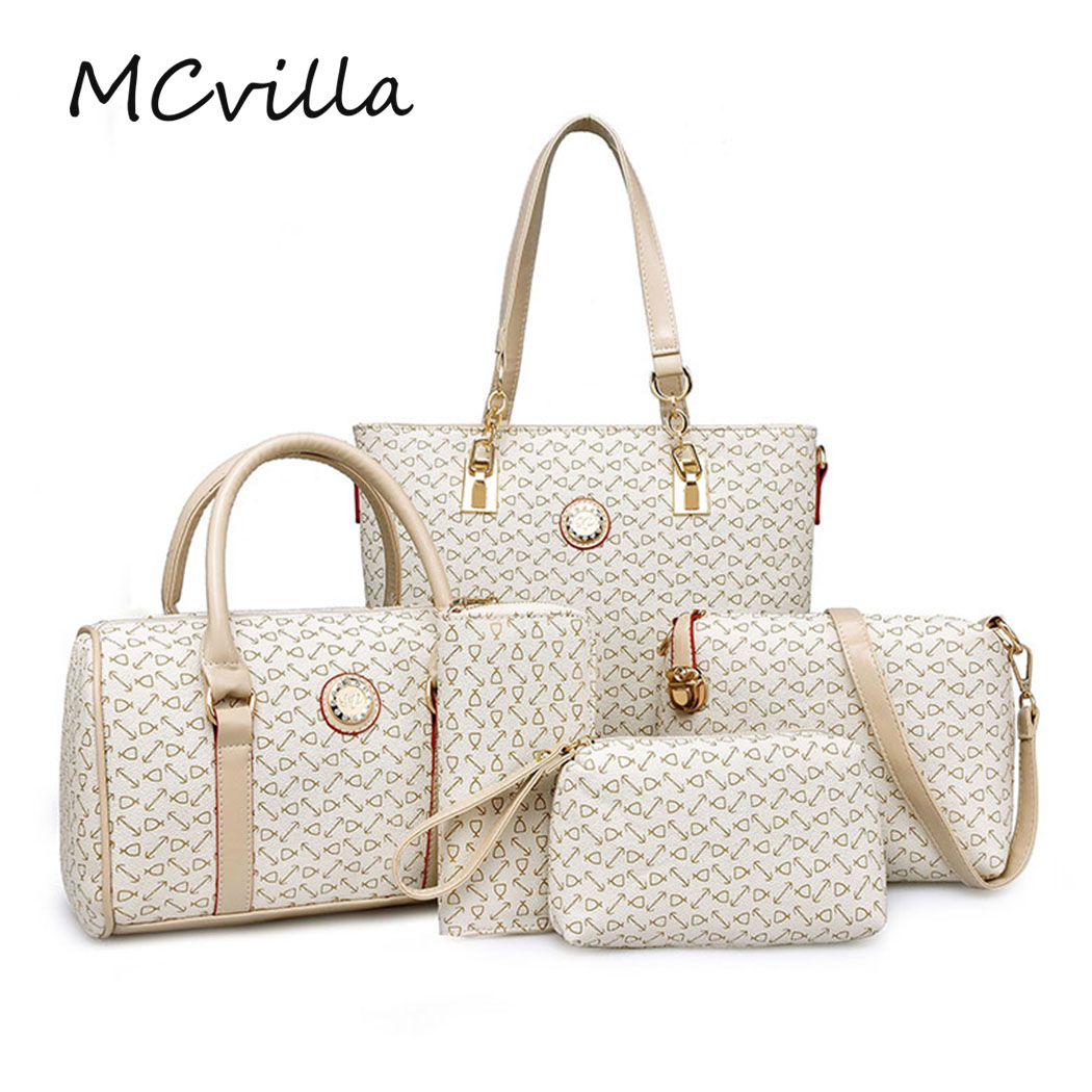 5pcs/Sets Women Fashion Crocodile Pattern PU Leather Women Casual Tote Vintage Shoulder Messenger Clutch Composite Bags<br>