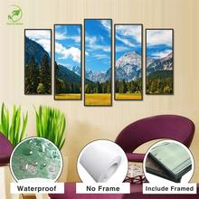 Modular Landscape Canvas Oil Painting Modern 5pcs Frame Blue Sky Pictures Mountain Prints Poster Deco Living Room Wall Art Paint