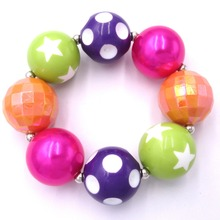 2pcs Infants Girls Baby Christmas Gift Princess Sofia Lovely Purple Orange Beads Kids Chunky Bubble Gum Bracelet Outfits Jewelry(China)