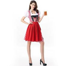 Free Shipping 2017 Oktoberfest Europe Beer Carnaval Festival October Dirndl Skirt Dress Apron Blouse Gown Fancy Dress Costumes