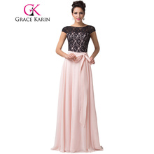 Grace Karin Evening Dresses 2017 Backless Lace Chiffon Elegant Long Formal Dinner Gowns Pink Wedding Party Dress With Sleeves(China)