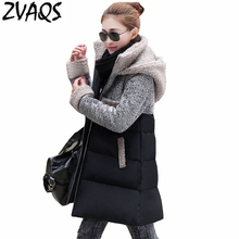2017 New Fashion Winter Jacket Women Thick Snow Wear Coat Patchwork Medium Long Slim Girl Parka Wadded Jacket Female YM536(China)