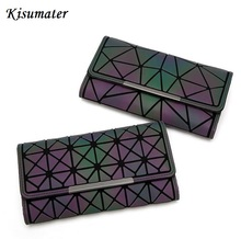 Kisumater luminous wallet New Women's geometric wallet female Mini Clutch handbag bao bao bag Shinning in dark Free Shipping(China)