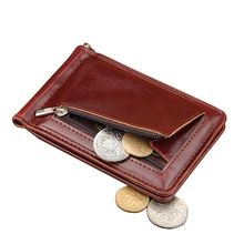 High Quality Leather Men Wallet Money Clips Stainless Steel Clamp Holder Cash Money Clip Small Zipper Coin Pocket Wallet For Men(China)