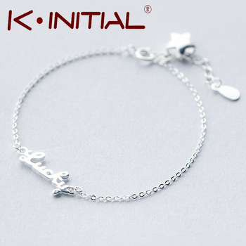 Kinitial 1Pcs Fashion Initial Lucky Jewelry New Cuff Bracelet 925 Silver Charm Bracelets Bangles Lucky Bracelet For Woman Gift