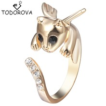 Todorova Angel Wing Cat Ring Crystals Rhinestone Adjustable Free Size Finger Ring Kitten Silver Women Men Gift
