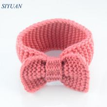 40pcs/lot Chunky Crochet Knitted Bow Turban Headwrap Girls Winter Headband Photo Props Boutique Hair Accessories FDA235(China)