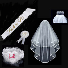Fashion Garter Veil Hen Night Party Bride To Be Bachelorette Party 1 Lace Set WHITE Rosette Mantilla Badge Sash