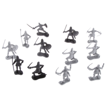 60 pcs/lot Sliver Black Warriors Medieval Soldiers Military Action Figures Toy for School Projects Students Learning History