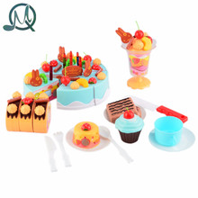MQ 75pcs DIY Cutting Birthday Cake Children Kids Baby Early Educational Classic Toy Pretend Play Kitchen Food Plastic Toy Gift
