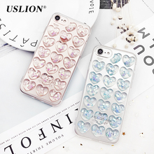USLION Glitter 3D Love Heart Phone Case For iPhone 7 7 Plus Bling Transparent Cases Soft TPU Clear Back Cover Coque For iPhone7