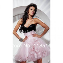 free delivery! Black coat pink skirt peony flower Sequin short dress sexy Strapless Prom Dresses
