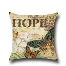 New Lovely butterfly High Quality Printing Cotton Linen Home Decor Sofa Office Throw Pillow Cover Car Back Seat Pillowcase Cover