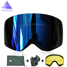 VECTOR Brand Ski Goggles Double Lens UV400 Anti-fog Women Men Snowboard Skiing Glasses Snow Eyewear With Additional Lens