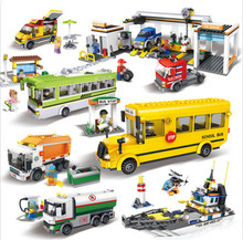 New Hsanhe Mini City Car Series School Bus Model Building Blocks City Tram Set Bricks DIY 3D Motorboat Educational Car Toys(China)