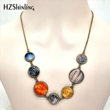 New Arrival Solar System Necklace Planet Universe Galaxy Jewelry Glass Dome Nebula Space Pendant Necklaces Wholesale(China)