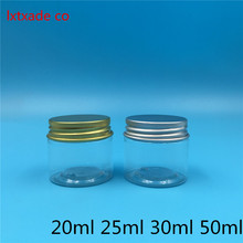 Free Shipping 25/30/50 ml Empty Clear Plastic Packaging Bottles jar Gold Lid Cream Eye Gel Bath Salt Small Cosmetic Container(China)