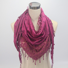 New Arrival Fashion Women Lace Scarf Ladies Triangle Winter Cotton And Embroidery Soft Charm Tassel Scarf Muslim Hijabs