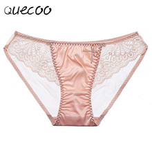 Buy QUECOO 3pcs/lots 2017 Sexy temptation ice silk thin lace transparent low waist cotton crotch girl briefs underwear women panties