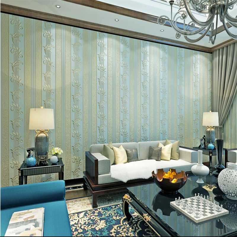 beibehang Modern simple wave striped non - woven wallpaper 3d flocking pearl living room bedroom background wallpaper<br>