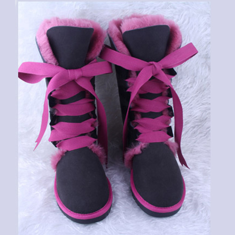 2016 Hit Colors Fashion lace up snow boots for women bootlace real sheepskin leather nature wool fur winter shoes for lady flats<br><br>Aliexpress