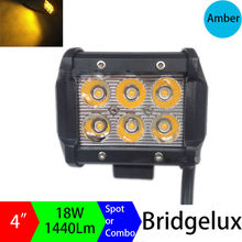 4Inch 18W Amber Yellow Fog Lamp Spot Flood Beam LED work Light Bar Offroad Tractor Truck 4x4 SUV ATV Pickup Motorcycle 12V 24V