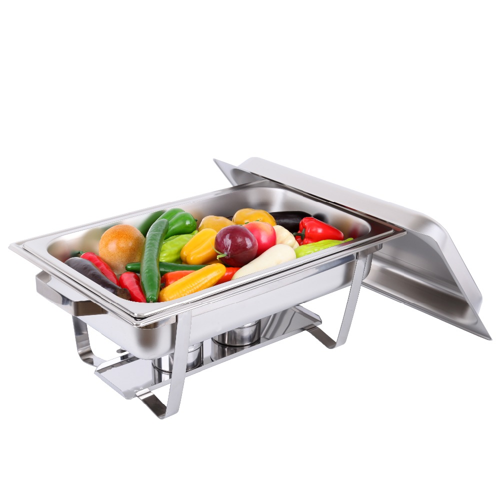 Germany warehouse Stainless Steel Chafing Dish Server Lid Hotpot Holder Party Buffet pan  server Food Tray Warmer<br>