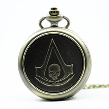 New Vintage Assassin's Creed Hot Movie Quartz Pocket Watch Analog Pendant Necklace Mens Womens Watches Gift