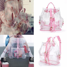 top brand Backpack Women Clear Plastic See Through Security Transparent Backpack Bag good quality Mochila Feminina drop ship(China)
