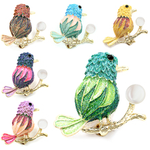 2017 New Arrival Glittering Birds Standing on Branch Imitation Pearl Brooch Pins for Women in Assorted Colors