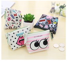 Cute girl PU leather Cosmetic case Money Bag Kawaii Candy color Lip Dot Makeup bag Women Travel Storage