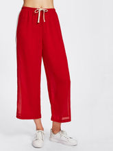 Hirigin Women Casual Wide Leg Trousers Side Striped Panel Red and Black Colors Drawstring Waist Crop Pants(China)