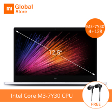 Earphone Gift 12.5 inch Xiaomi Mi Notebook Air Intel Core M3-7Y30 CPU 4GB RAM 128GB SSD FHD Display Laptop PC Windows 10(China)