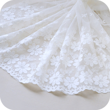 50cm x130cm Creamy White floral Net Bouble Size Symmetrical Positioning Embroidery Lace Fabric Fabrics DIY webbing Cloth