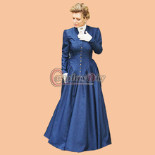 Free Shipping Custom Made Southern Belle Blue Dress Civil War Dress Beautiful Medieval Dress Cosplay Costume