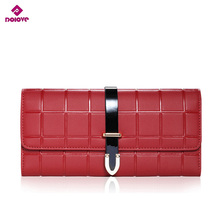 DOLOVE Buckle New Women Wallet European American Style Hand Bag Ladies wallet lattice pattern of and Brand Leather Long Fashion