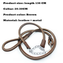 Ortilerri Top Quality Leather Traction Rope Pet Genuine Leather Large Dog Leashes Pet Traction Rope Collar Set For Big Dog 136cm