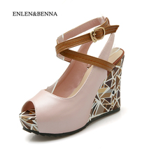 ENLEN&BENNA New Arrival Summer Women Shoes Hot Wedge Open Toe Women Pumps High Heels Sexy Women Platform Shoes Plus Size 35-43